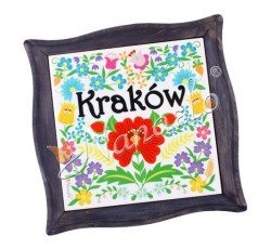 Podstawka pod garnek w ramie krakowskie kwiaty KRAKÓW