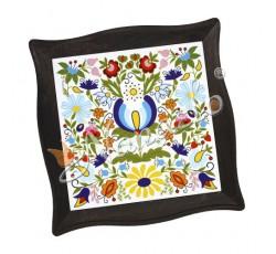 Podstawka pod garnek w ramie kaszubskie kwiaty kolorowe