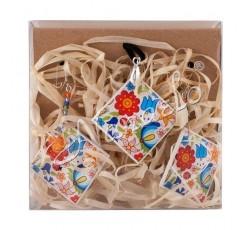 Zestaw kolczyki romb kaszubskie kwiaty kolorowe