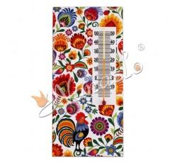 Termometr łowicki kogut w kwiatach