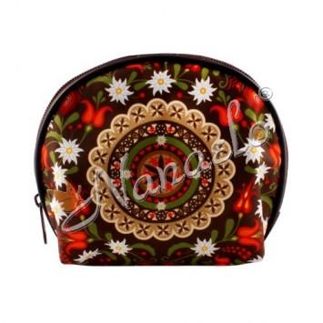 Kosmetyczka półkole podhalańska rozeta w kwiatach