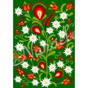 Pocztówka podhalańskie kwiaty w zieleni