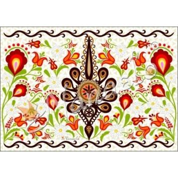 Pocztówka podhalańska parzenica w kwiatach